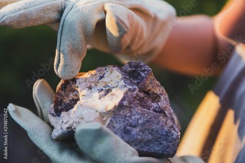 Fotografiet Child Inspecting Rock
