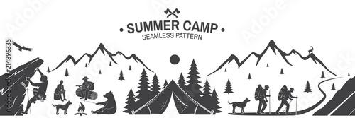 Fotografia Summer camp seamless pattern. Vector illustration.