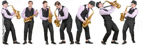 Fotografia Full length profile shot of a  man playing a saxophone isolated on white backgro