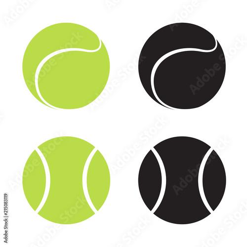 Canvas Print Green and black volume tennis balls on white background