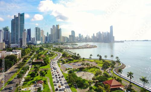 Canvas Print Aerial view of Panama´s  Skyline showing La Cinta Costera Boulevard
