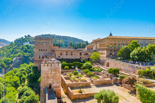 Aerial view of the Alhambra in Granada, Andalusia, Spain.