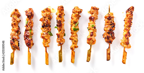Carta da parati Grilled Meat on Wooden Skewers
