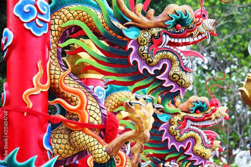 tradition chinese dragon statue pole background. Fototapeta