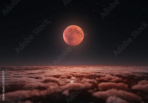 Canvas Print Longest total Lunar eclipse, blood moon 2018.