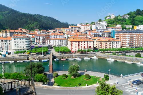 view of Ondarroa small town and port, Pais Vasco Spain