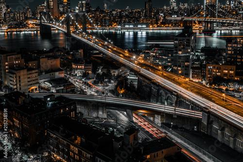 Obraz na płótnie brooklyn bridge night exposure from a rooftop