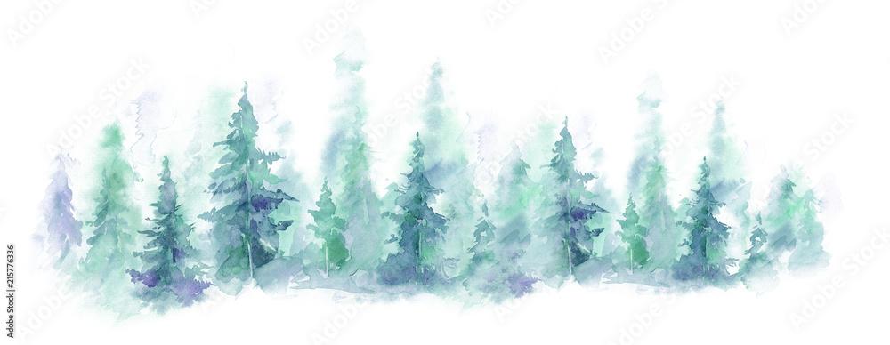 Błękita krajobraz mgłowy las, zimy wzgórze. Dzika przyroda, zamarznięta, mglista, tajga. tło akwarela <span>plik: #215776336   autor: Leyasw</span>