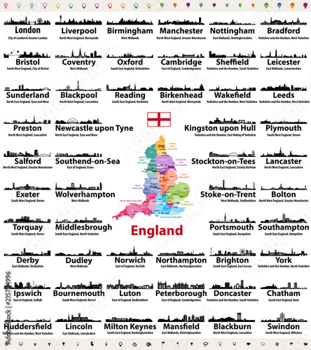 Obraz na płótnie England cities skylines icons with names of city, region and ceremonial county