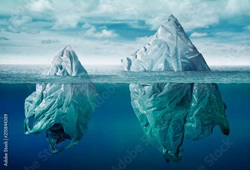 plastic bag environment pollution with iceberg of trash Fototapete