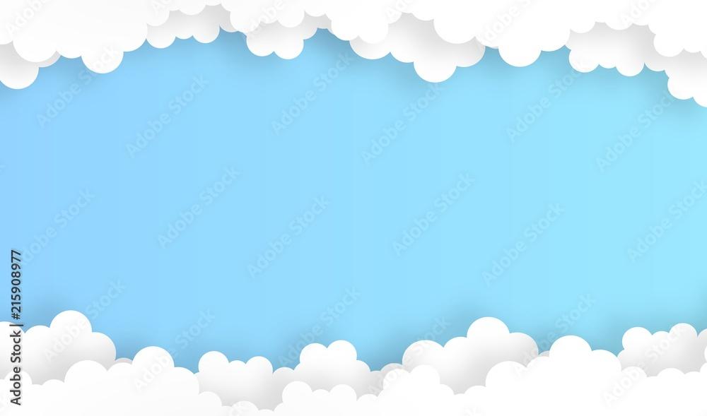 niebo z chmurą tło, wektor, ilustracja, papierowy styl sztuki, kopii przestrzeń dla teksta <span>plik: #215908977   autor: pattozher</span>