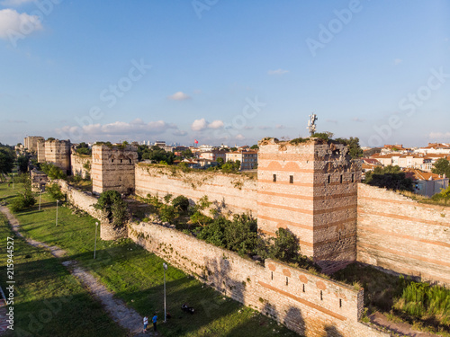 Aerial Drone View of Ancient Constantinople's Walls in Istanbul / Byzantine Cons Fototapet
