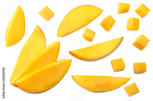 Canvas Print mango slice isolated on white background. healthy food. top view
