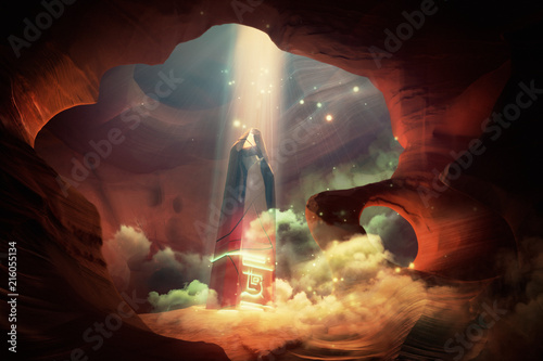 Fototapeta magical obelisk in the cave