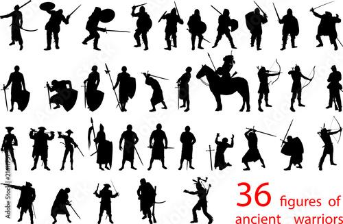 Fotografie, Obraz silhouettes of ancient warriors