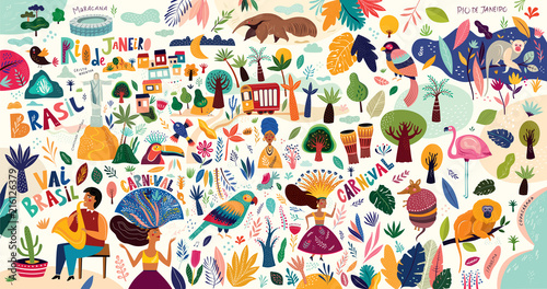 Amazing vector collection of Brazilian symbols