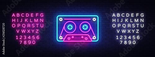 Obraz na plátně Cassetts for tape recorder neon sign vector