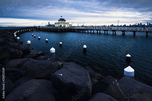 Canvas Print St Kilda Pier at dusk, Melbourne, Victoria, Australia