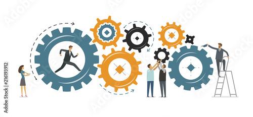 Fotografia Business development, teamwork concept. Vector illustration