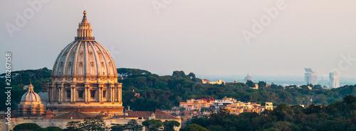 Fotografija Panorama Of Rome St. Peter's Basilica and Green Landscape