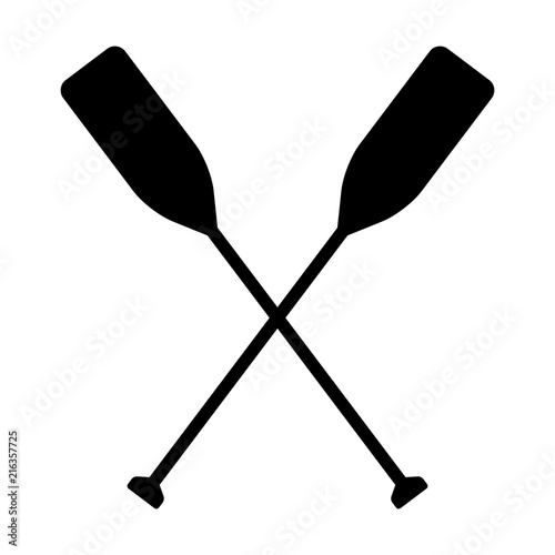 Photographie Two boat paddles or canoe oars flat vector icon for nautical apps and websites