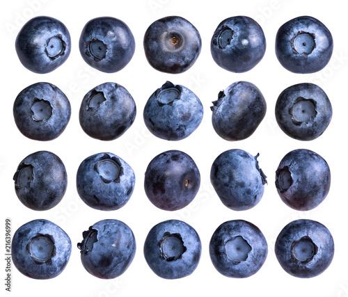 Fotografia Big set of fresh blueberry isolated on white background.