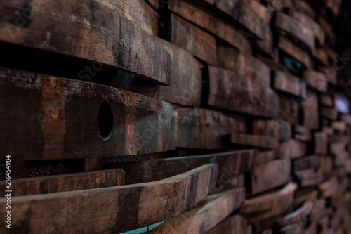 Bung Hole Visible in  Bourbon Stave on Wall