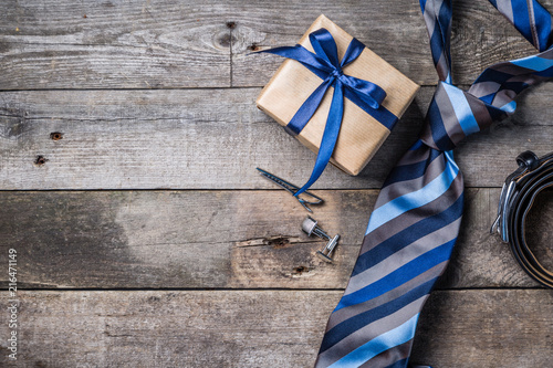 Tela Father's day concept - present, tie on rustic wood background