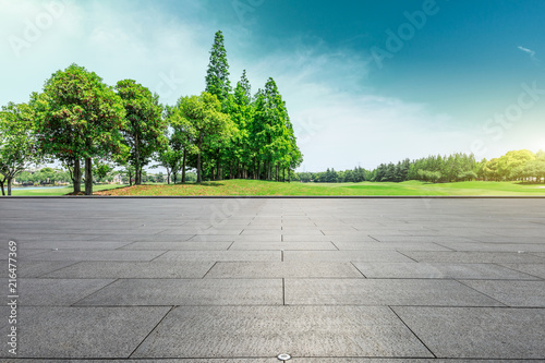 Fotografia Empty square floor and green trees natural landscape
