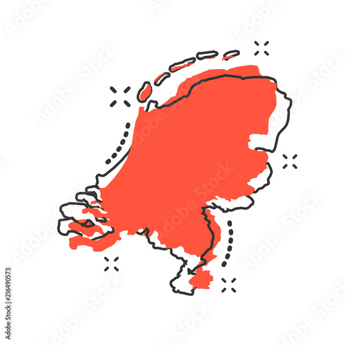 Photo Vector cartoon Netherlands map icon in comic style