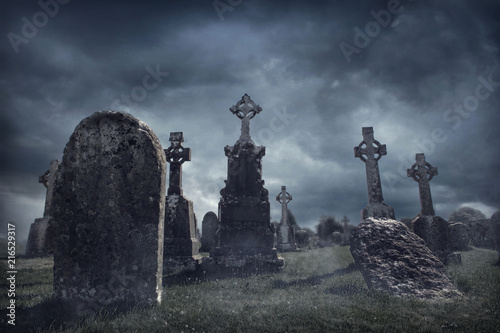 Slika na platnu Spooky old graveyard