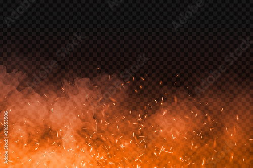 Wallpaper Mural Vector realistic isolated fire effect with smoke for decoration and covering on the transparent background