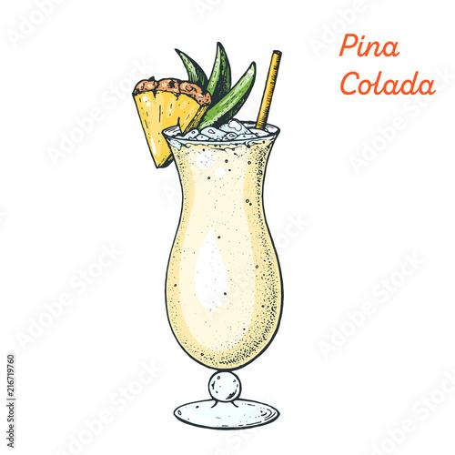 Fotografie, Obraz Pina Colada cocktail illustration