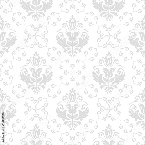 Fototapeta Klasyczny wzór bez szwu Tradycyjny orient srebrny