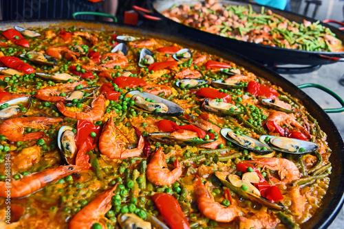 Spanish paella prepared in the street restaurant