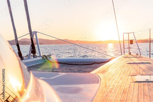 Tablou Canvas coucher de soleil en catamaran