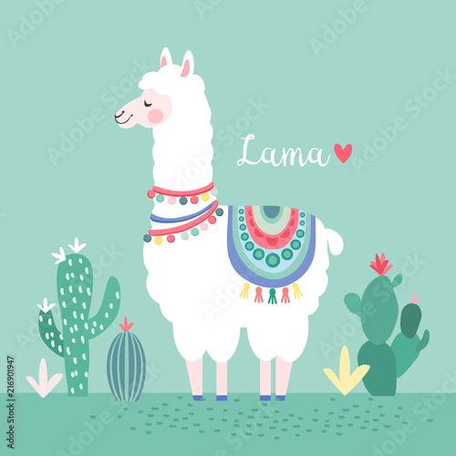 Fototapeta Lama with cactus, greeting card, vector illustration