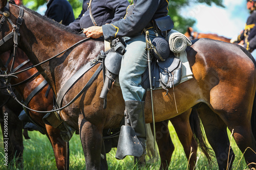 Canvastavla Union Soldiers on horseback during a reenactment of the Civil War