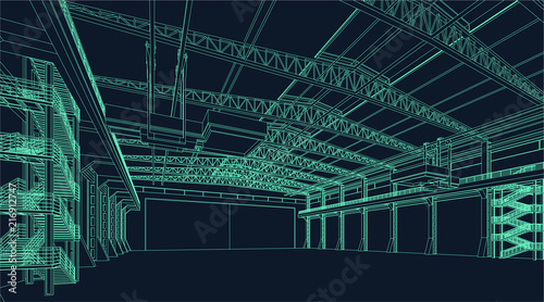 Fotografia wire frame illustration of an industrial warehouse or hangar for virtual reality