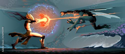Fotografija Battle between magician elf and reptilian monster