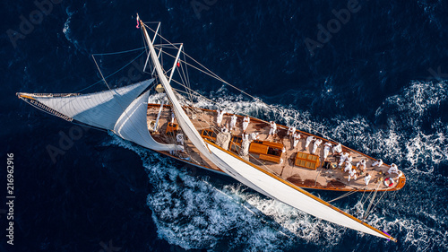 Photo French Riviera - old sail race straight above aerial view sunset