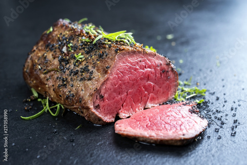 Stampa su Tela Traditional barbecue dry aged wagyu fillet steak with herb and spice marinated a