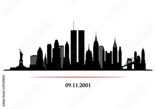 Valokuvatapetti New York City Skyline with twins tower