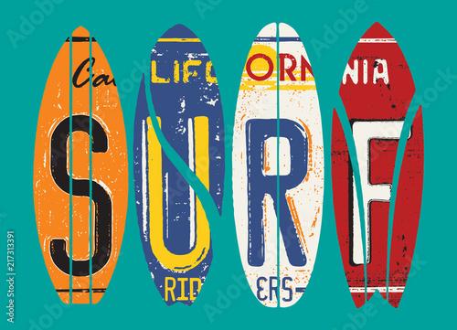 Obraz na płótnie Basic CMYKCalifornia surf rider license plate vector grunge patchwork