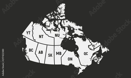 Fotografie, Obraz Poster map of Canada with short provinces and territories names