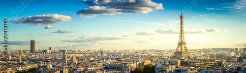 panorama of famous Eiffel Tower and Paris roofs, Paris France, retro toned