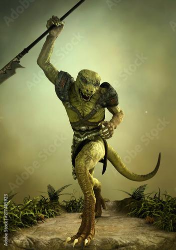 Fotografija Fantasy reptilian warrior with a spear in its hand.