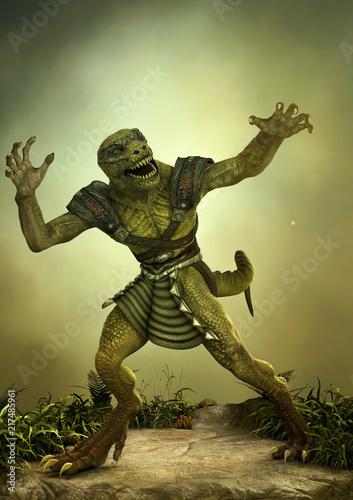 Fantasy reptilian warrior in a frightening pose. Fototapeta