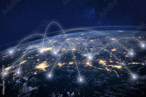 global network concept, information technology and telecommunication, planet Ear Fototapet