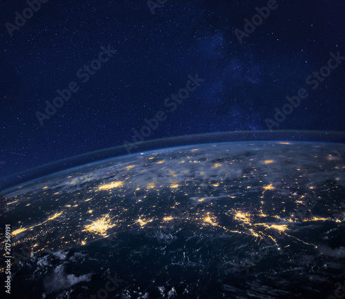 night view of planet Earth from space, beautiful background with lights and stars, close up, original image furnished by NASA